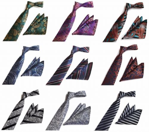Men's Woven Paisley Jacquard Silk Tie and Handkerchief Gift Set Wedding UK